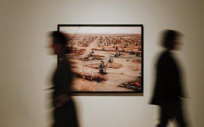 Installation view of Edward Burtynsky's Oil Fields